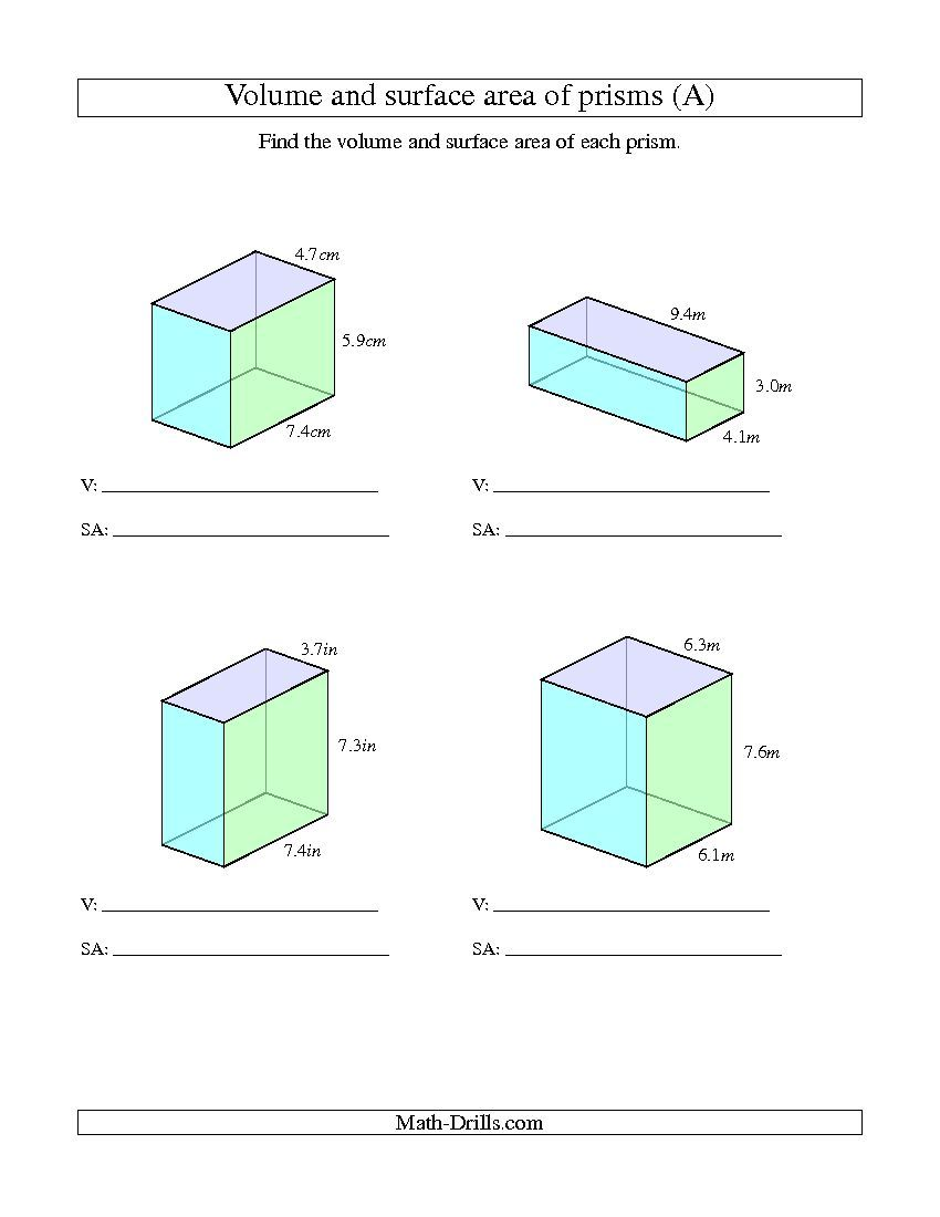 Worksheets Surface Area And Volume Grade 7 Worksheet improved 2013 11 17 volume and surface area of rectangular prisms with decimal