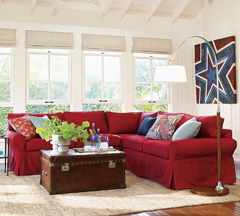 Pb Basic Slipcovered 2 Piece L Sectional Living Room Red Red Sofa Living Room Red Couch Living Room