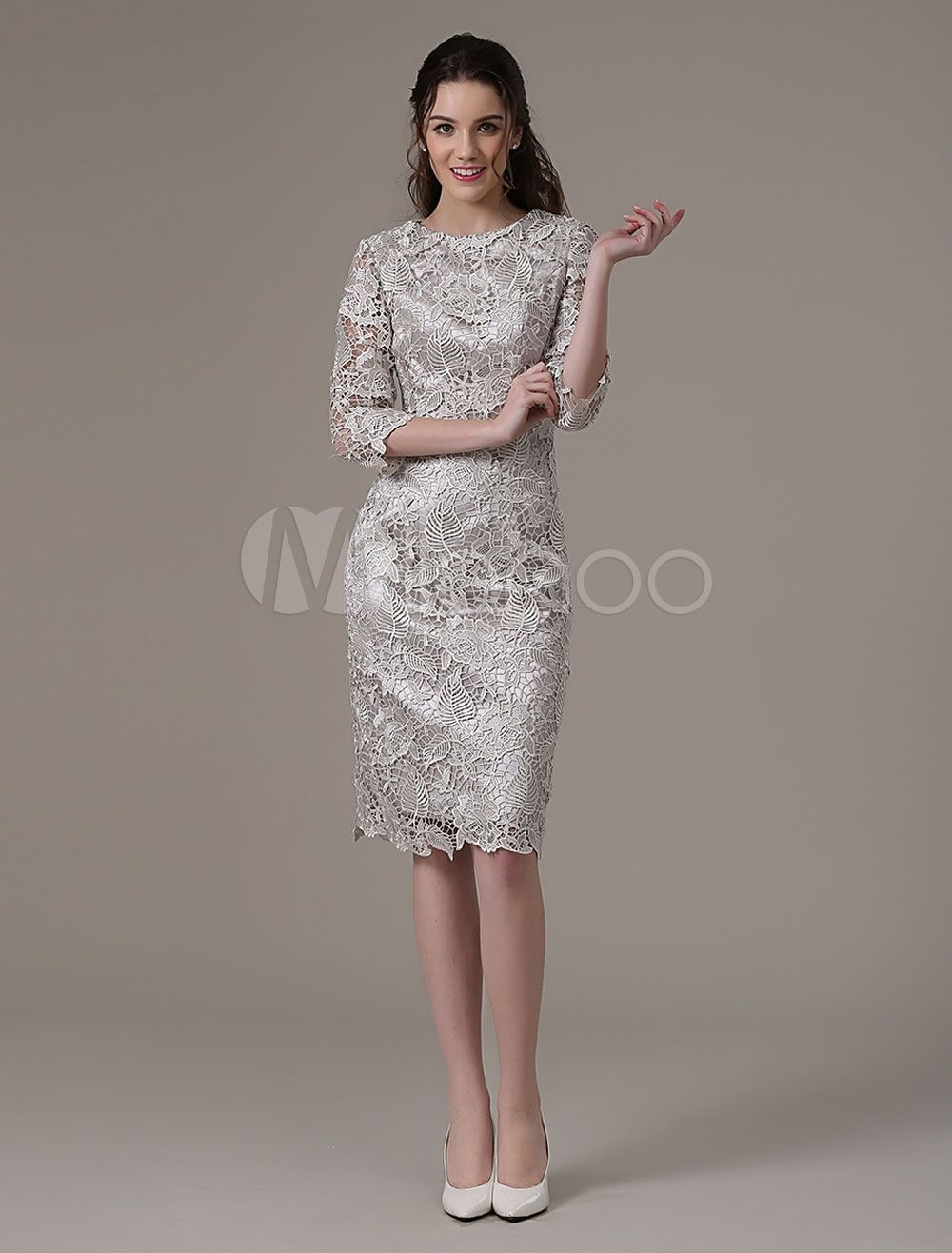 Wedding Guest Dresses Silver Lace Mother Dress Short Half Sleeve Sheath Cocktail Dress Wedding Guest Dress Silver Cocktail Dress Cocktail Dress Wedding Cocktail Dresses With Sleeves