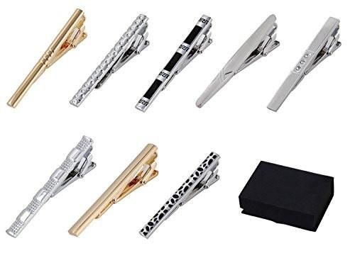 Blue BMC Mens Metal Tie Clip Bar Clasps w//Silver,Gold Set of 8 Brass Finishes