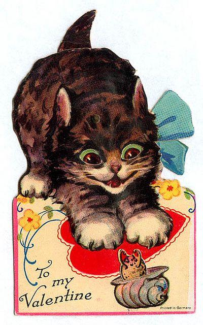 Vintage Valentine Menacing Kitty Vintage Valentine Cards Vintage Valentines Retro Valentines