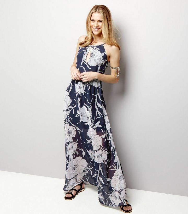 Blue Vanilla - Robe longue en mousseline bleu marine à imprimé floral  | New Look
