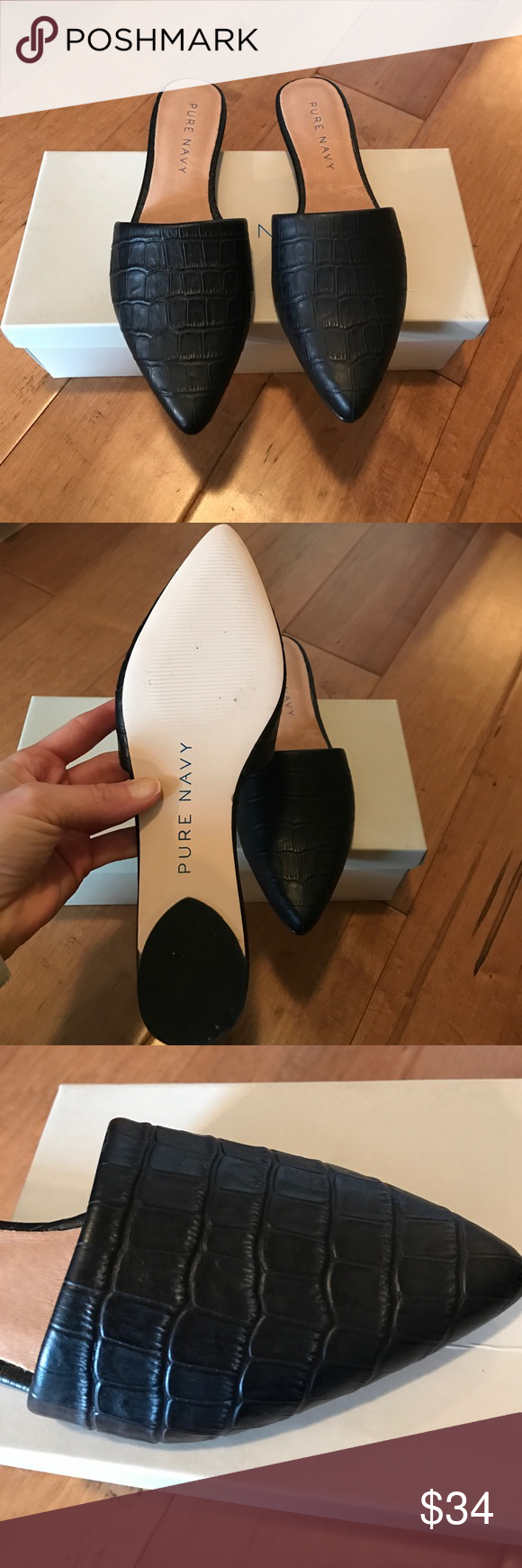 NEW Pure Navy Black Leather Mules Black croc embossed leather mules by Pure Navy from Gilt. New in box! Pure Navy Shoes Mules & Clogs