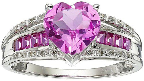 10k White Gold Created Pink Sapphire Heart With Diamond Accent Ring Size 7 Diamond Pink Diamond Black Diamond Jewelry