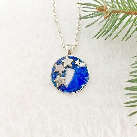 Mosaic stained glass round pendant necklace cobalt and sapphire blue mosaic stained glass round pendant necklace cobalt and sapphire blue stained glass star beads set in aloadofball Choice Image