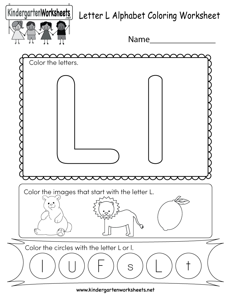 this is a cute letter l worksheet for kindergarteners kids can color the letters and images. Black Bedroom Furniture Sets. Home Design Ideas