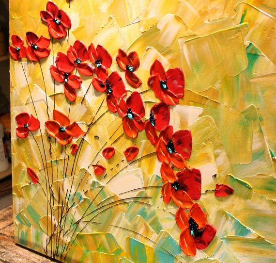 Original Abstract Red Poppies Painting, Palette Knife, Impasto ...