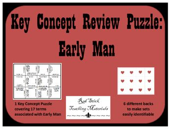 Have students review key concepts from World History.  This puzzle focuses on Early Man.  Although this puzzle was primarily designed for use with middle school students, it could serve for enrichment for elementary school and as a foundational review for any class studying World History or Western Civilization.This product contains 1 puzzle covering 17 concepts and 6 different backs allowing teachers to make multiple puzzle sets without having to worry about students mixing up the puzzles.
