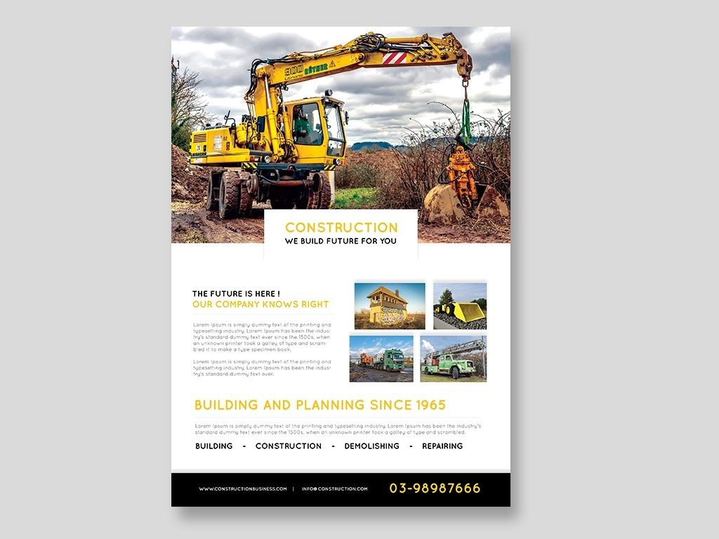 Construction flyer psd template free download psd