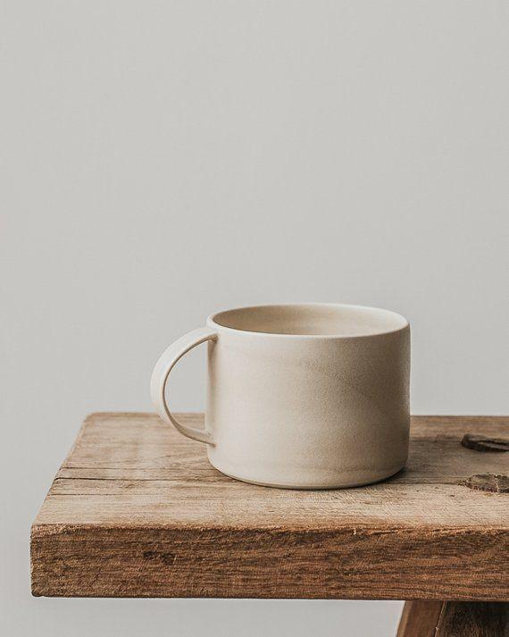 Oatmeal large mug - ceramic mug - cream mug - hand made pottery - large cup - stoneware - matt glaze - porcelain - tea mug - coffee mug