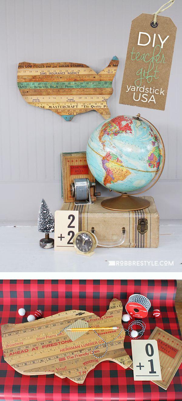 DIY Teacher Gift Idea Yardstick USA   Repurpose Vintage Yardsticks Into A  Creative Christmas Gift Idea