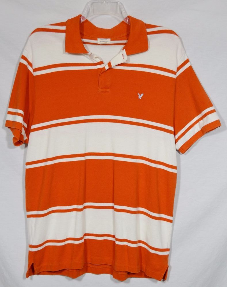 fae919a8f48 AMERICAN EAGLE OUTFITTERS Mens Orange White Striped Polo Shirt XL Short  Sleeves #AmericanEagleOutfitters #PoloRugby