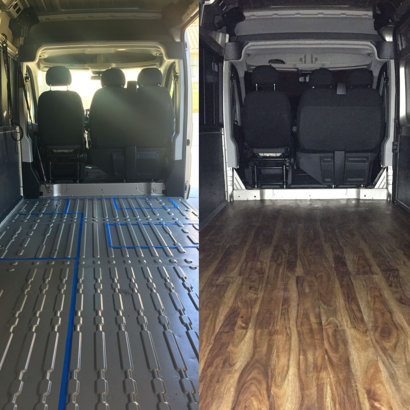Our 2016 Dodge Promaster Work In Progress Subfloor Insulation And Flooring Done Before After Photo