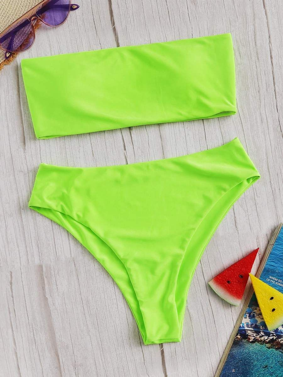 2afca82e42 Neon Bandeau Top With High Waist Bikini Set – WEARWHO/ summer outfit,  spring outfit