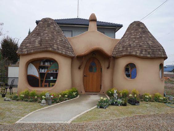 11 FACHADA DE CASA RUSTICA EN ADOBE FORMAS SUAVES  Barro  Cob house plans Earthship home y