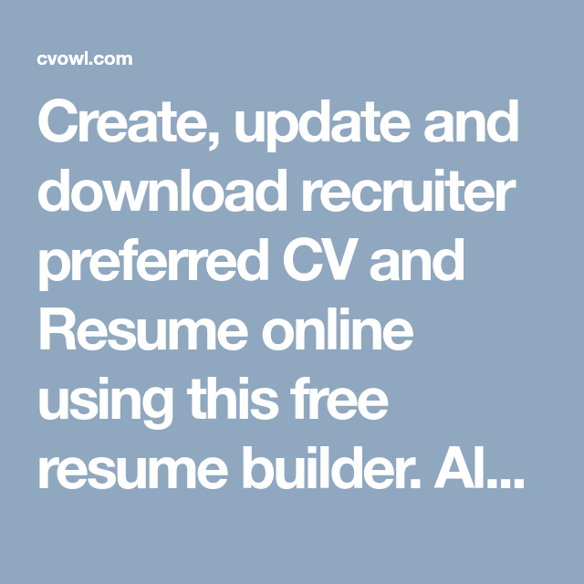 Make A Resume Online Free Download Fascinating Create Update And Download Recruiter Preferred Cv And Resume Online .