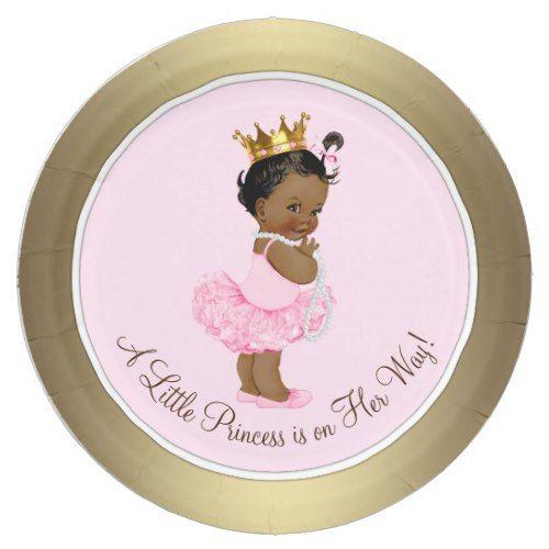Ethnic Ballerina Princess Pink Gold Baby Shower Paper Plate  sc 1 st  Pinterest & Ethnic Ballerina Princess Pink Gold Baby Shower Paper Plate | Party ...