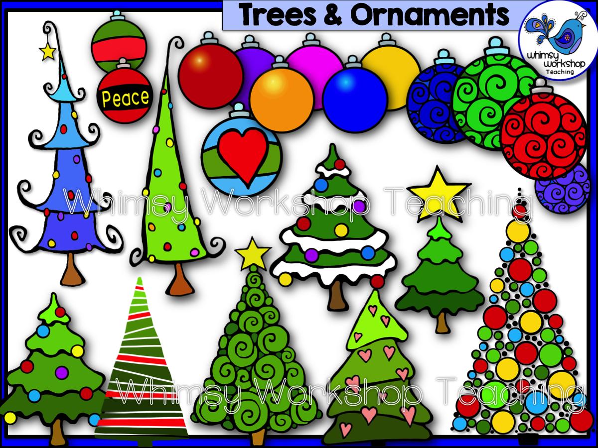 Christmas Trees and Ornaments / Bulbs Clip Art | Colorful christmas ...
