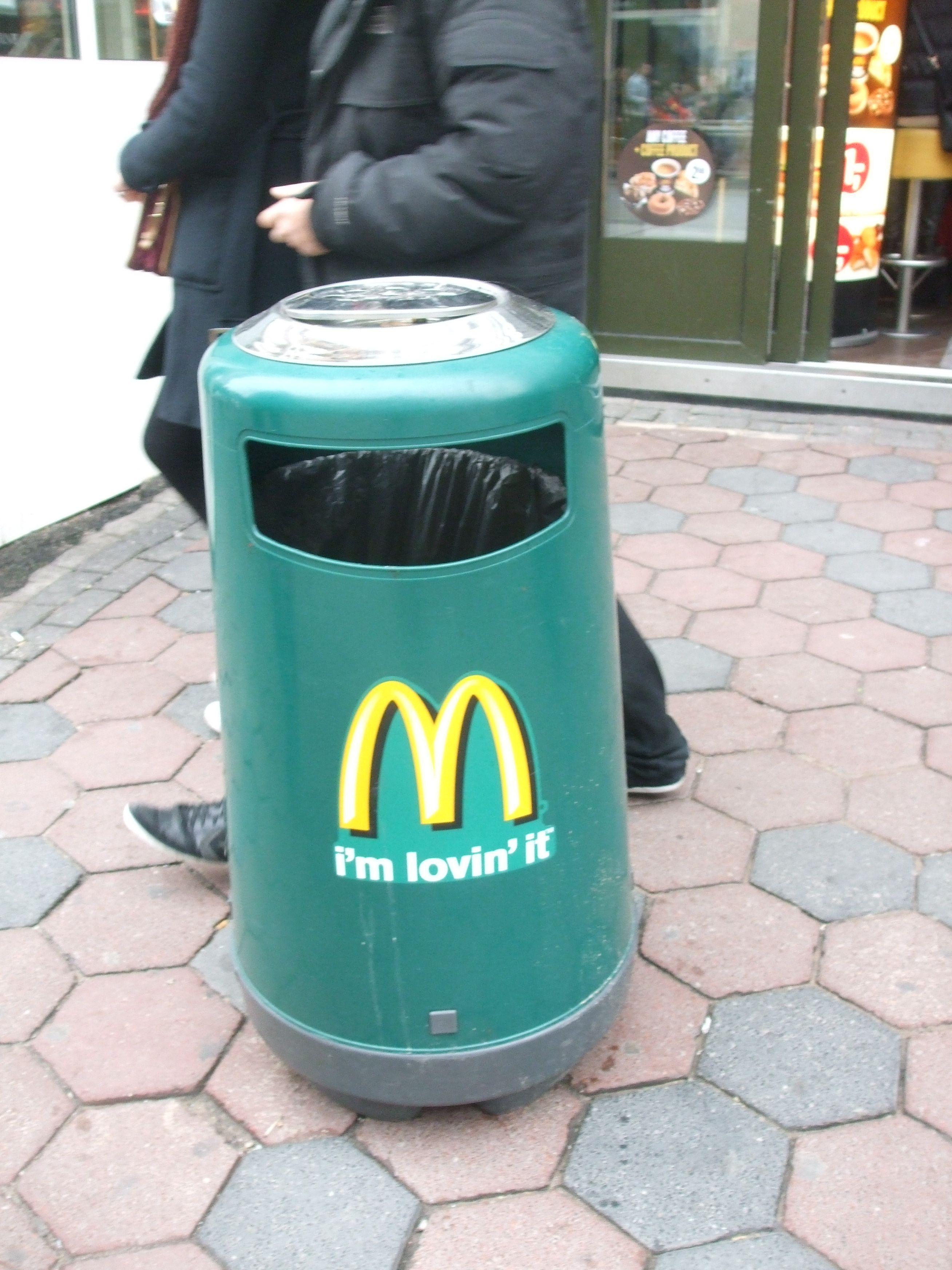 public waste bin ....green McDonalds   waste and waste bins   Pinterest