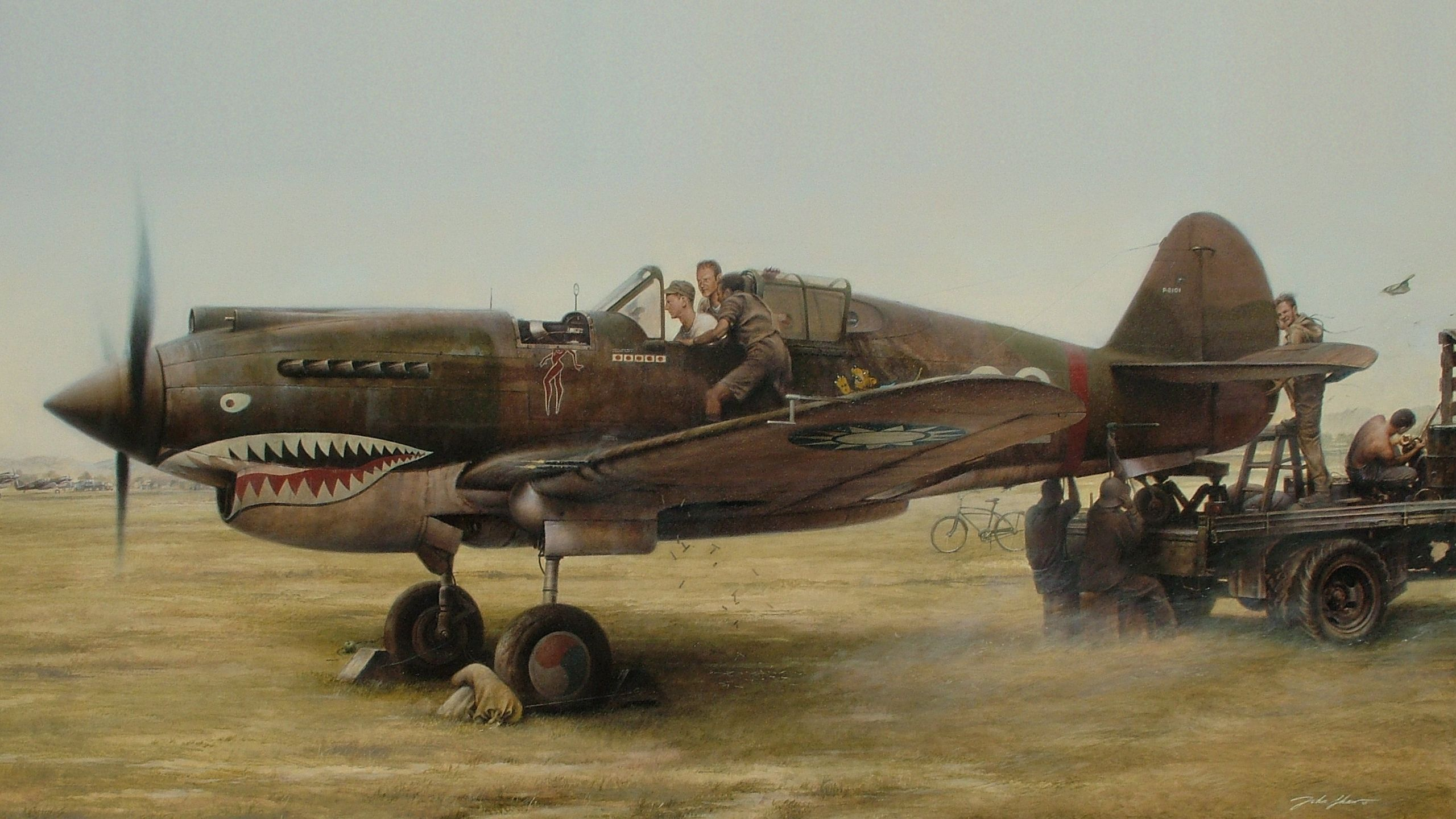 Обои painting, war, aviation, P 40 Tomahawk, ww2. Авиация foto 9