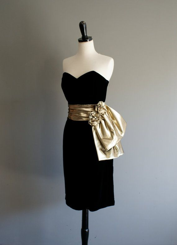 Vintage 80s Gold Lame And Velvet Strapless Prom Dress M L By Heightofvintage 42 00