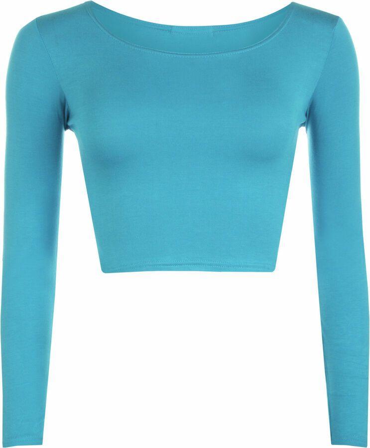 efffb248af15 New Women's girls Long Sleeve Crop Top Ladies Plain T Shirts Round Neck Tops  UK#Long#Sleeve#Crop