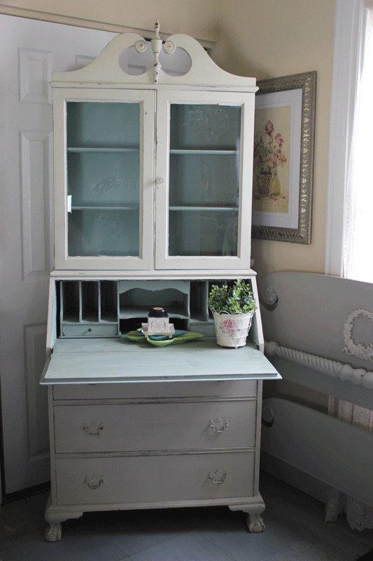 Shabby Chic Vintage Tall Secretary Desk 20 S Or By Vintageonetsy