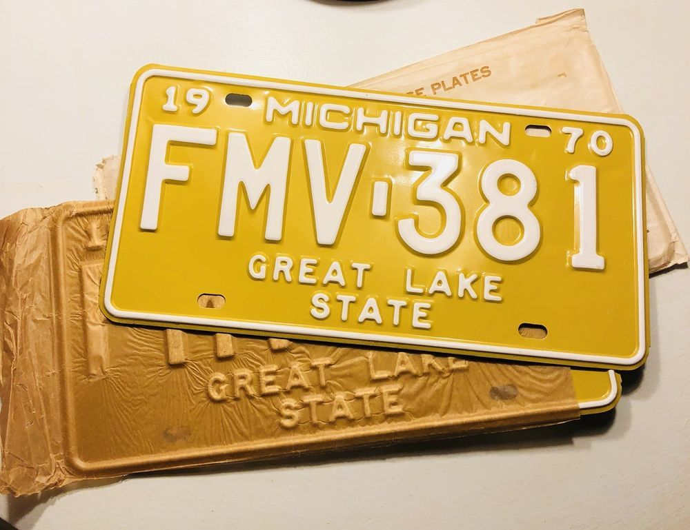 Vintage Pair of 1970 Michigan License Plates FMV 381 New Old Stock ...