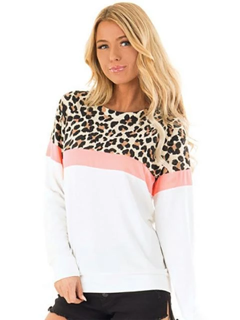 Photno Womens Leopard Color Block Sweatshirt Plus Size Round Neck Long Sleeve Blouse Casual Loose Pullover Tops