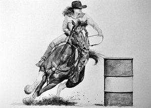 Horse Racing Drawing The Barrel Racer By James Foster Art In