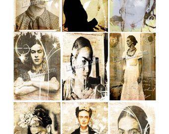 Artista carte collezionabili Freda Khalo... Foglio di collage download digitale a4...