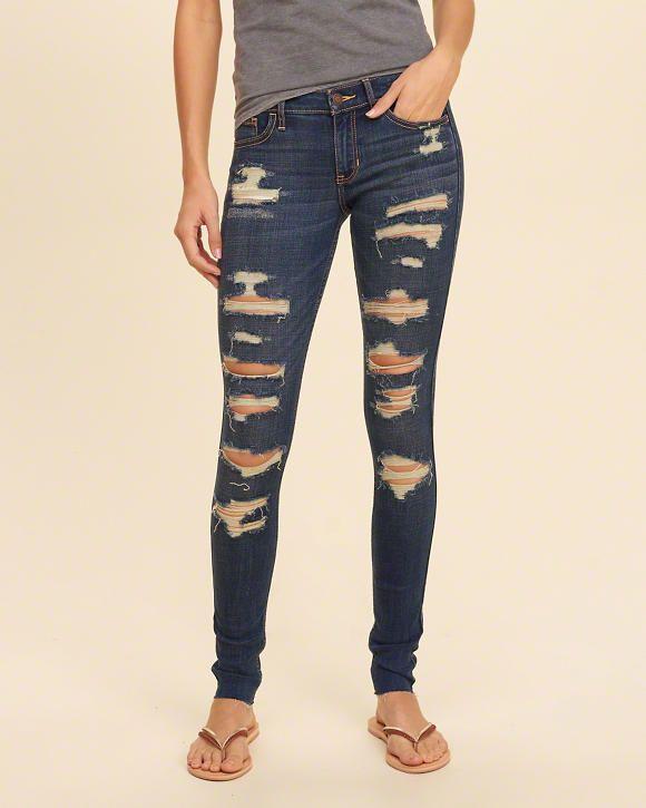 Girls Hollister Shredded Low-Rise Super Skinny Jeans   Girls Bottoms    HollisterCo.com