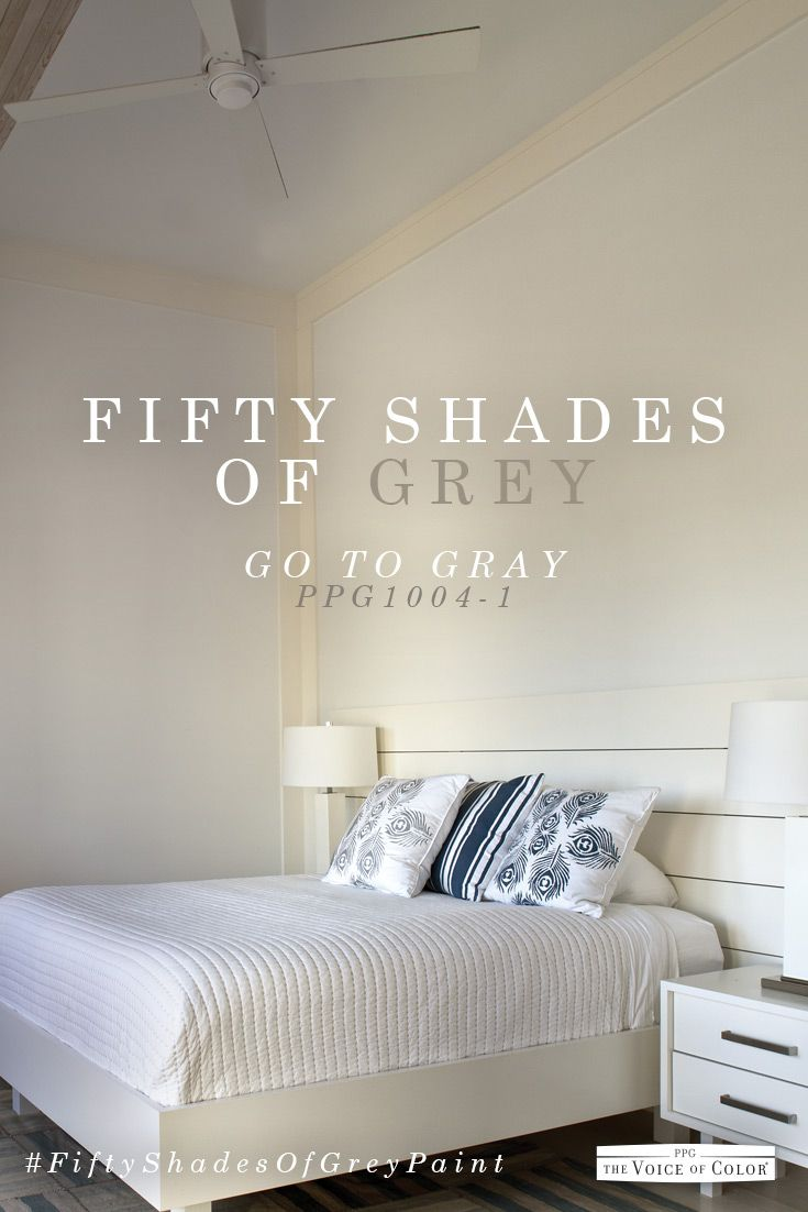 Grey bedroom color scheme featuring Go to Gray paint color by PPG Voice of. Grey bedroom color scheme featuring paint color Gray Flannel by