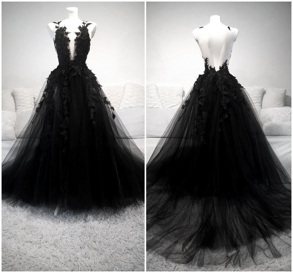 Unique Black Tulle V Neck Sheer Back Lace Applique Evening Dress