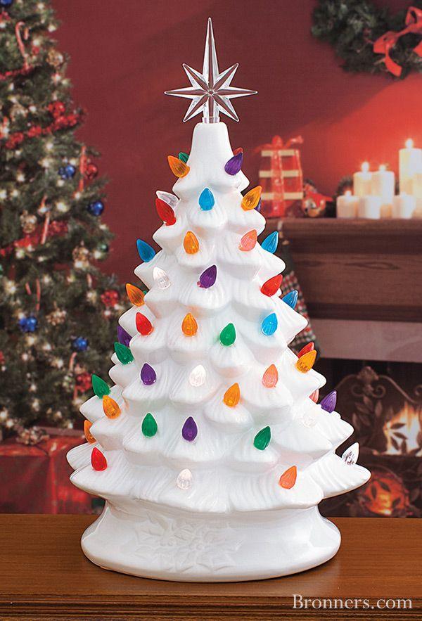White Ceramic Christmas Tree With Lights Ceramic christmas trees