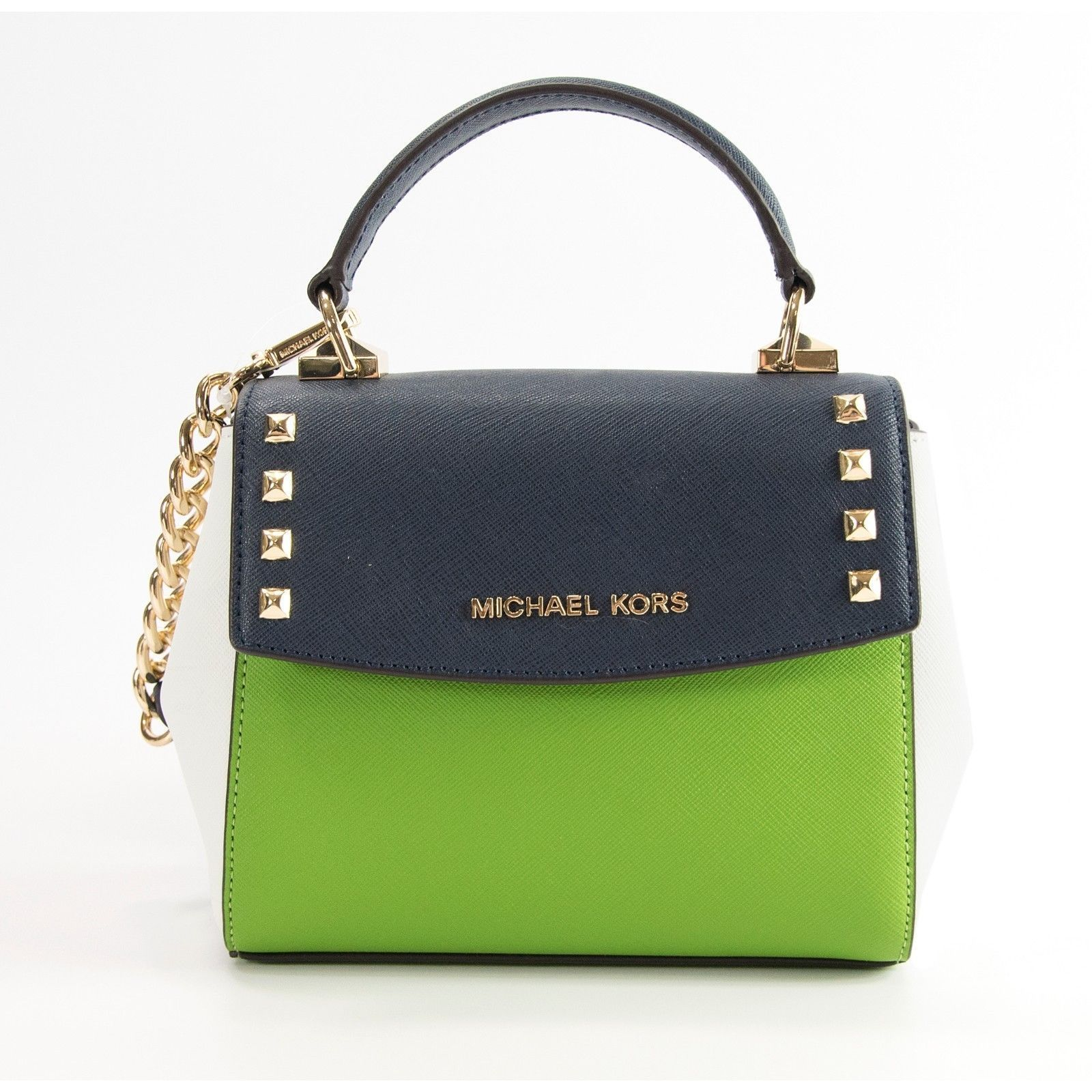 94fc22b157cb Michael Kors Karla Mini Navy Jungle Green Studded Leather Satchel Crossbody  NWT