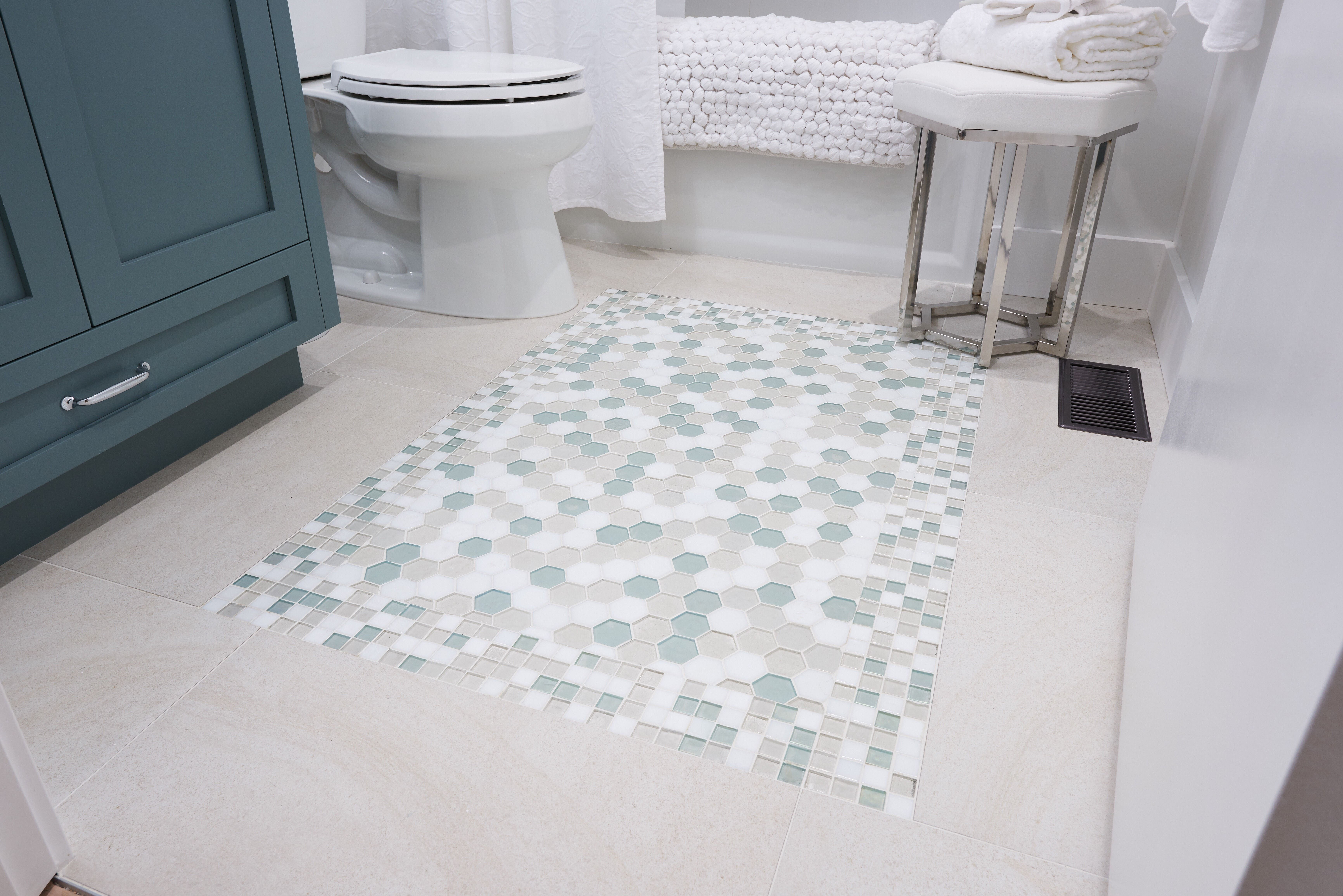 Stunning Bathroom Floor Tile Tessera Straight Set And Hexagon In The Atmosphere Blend Available At World Mosaic Til Glass Tile Mosaic Tiles Spa Inspiration