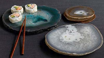 California rolls served on brazilian agate.   A taste of two worlds!