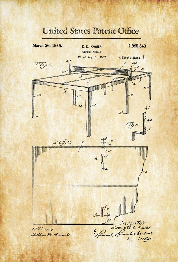 Table Tennis Patent 1935 - Patent Prints Wall Decor Tennis Art ...