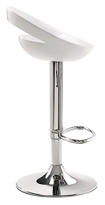 Tickle Chrome With White Zuo Armless Bar Or Counter Stool