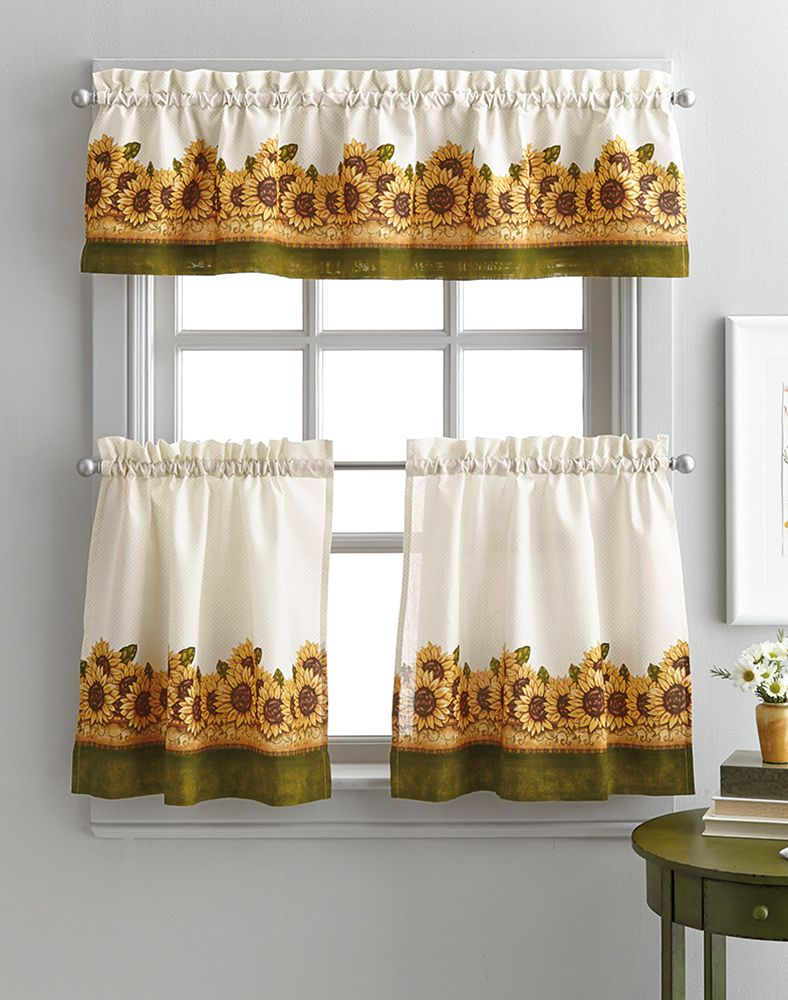Happy sunflower garden piece kitchen tier set curtainworks