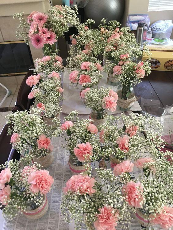 Diy Carnation Mason Jar Flower Arrangement Centerpieces Babyshowers Baby Shower Flowers Mason Jar Flower Arrangements Rustic Baby Shower