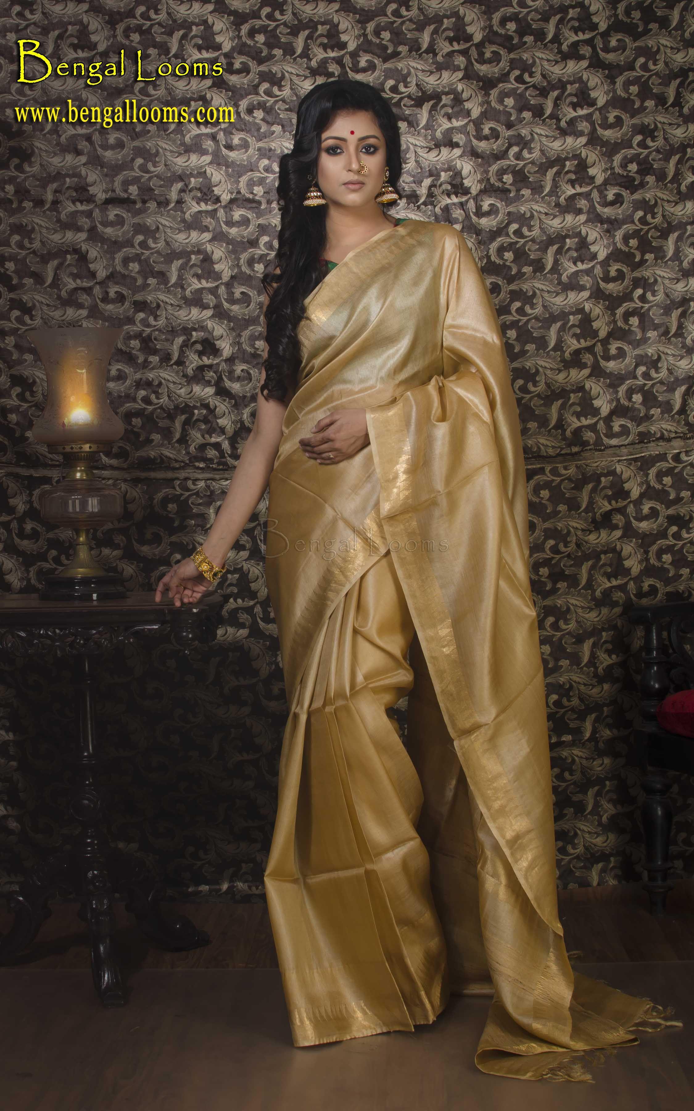 Off white tussar silk saree tussar silk saree in beige and gold  sarees  pinterest