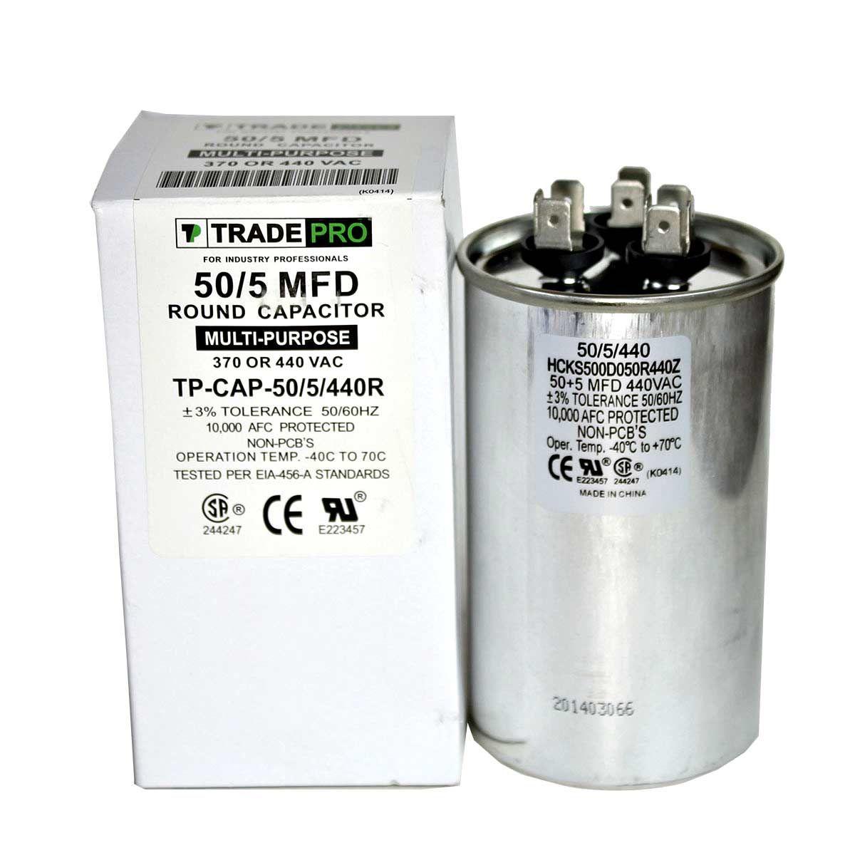 50 5 Mfd 370 Or 440 Round Dual Run Capacitor Tp Cap 50 5 440r Capacitor Electrical Schematic Symbols Heat Pump Air Conditioner