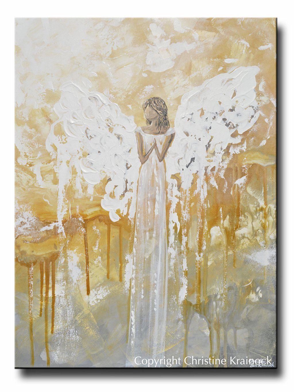 Original Abstract Angel Painting Fine Art Gold Grey White Spiritual Angels Home Decor 30x40 Angel Painting Fine Art Painting Abstract Art Painting