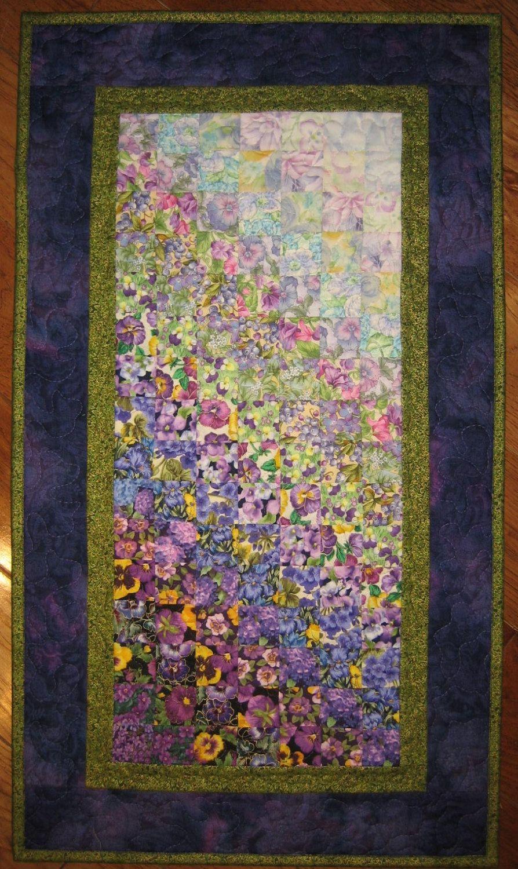 Art Quilt Purple Green Summer Garden Flower Fabric Wall Hanging