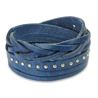 That's A Wrap - Blue Leather Wrap Bracelet With Studded Weaved Ends