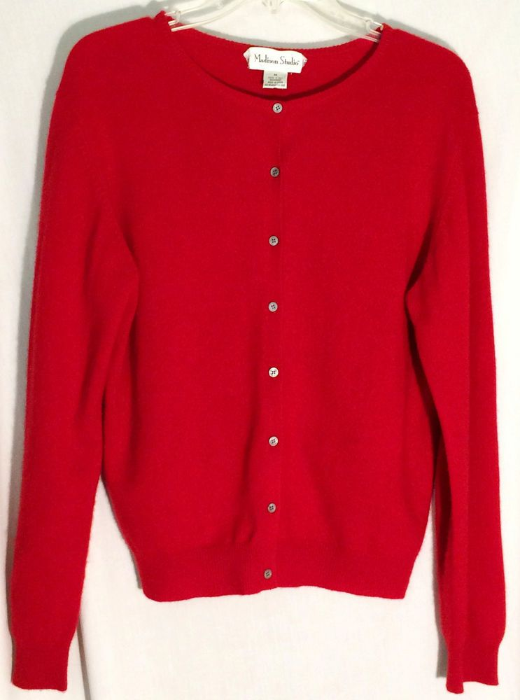 MADISON STUDIO Deep, Rich Red 100% 2 Ply Cashmere Cardigan Sweater ...