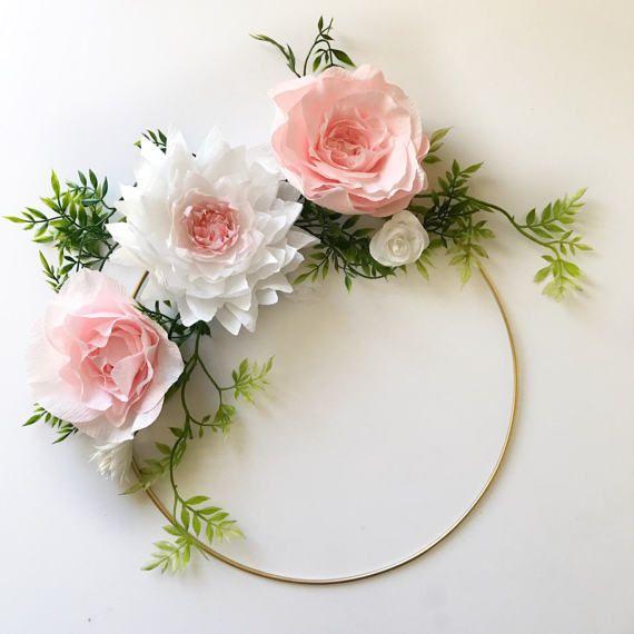 Paper Flower Wreath- Gold Hoop Wreath- Crepe Paper Flower Wreath ...