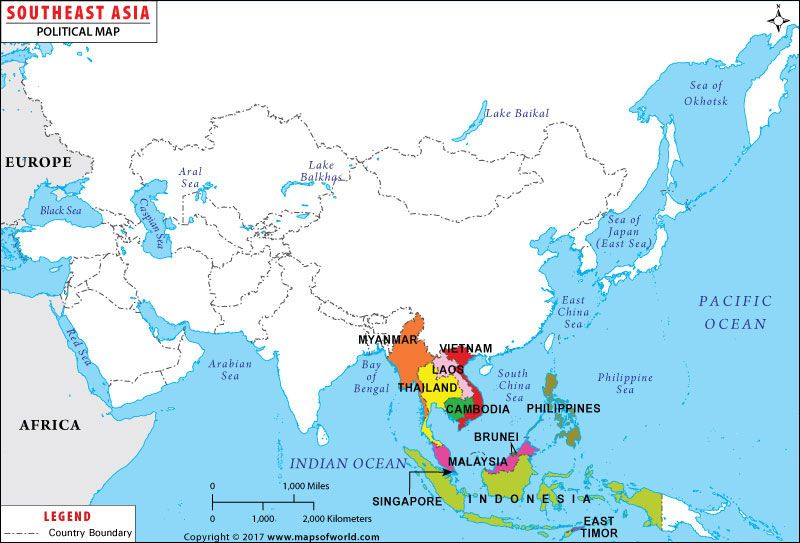 Southeast #Asia Map | Maps in 2019 | Central asia map, Asia map, Map